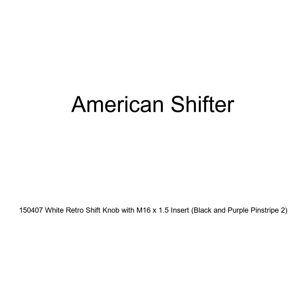 Black and Purple Pinstripe 2 American Shifter 150407 White Retro Shift Knob with M16 x 1.5 Insert