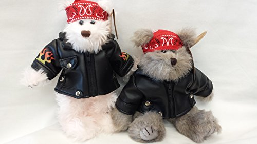 Plush Motorcycle Biker Teddy Bear 8 Inches Tall, Jointed Stuffed Animal Toy, Boy and Girl, 2 Pcs Set