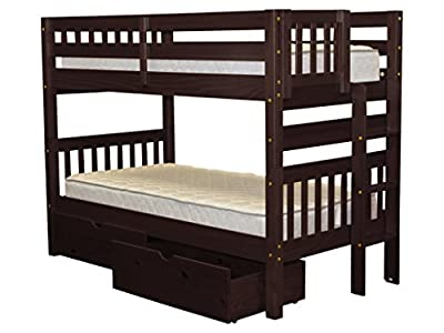Bunk Bed Twin over Twin with End Ladder and 2 Under Bed Drawers, Cappuccino