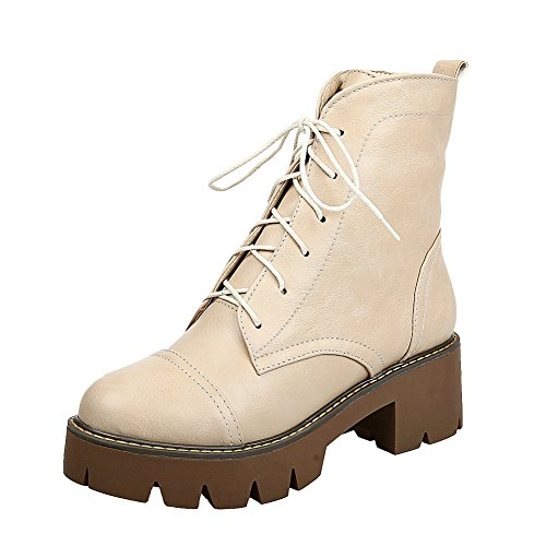 Latasa Womens Chunky Heels Lace up Ankle High Oxford Boots Beige YIc341Tz