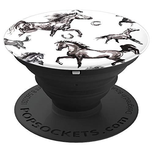 Horseshoe PopSockets Grip White and Black Horse - PopSockets Grip and Stand for Phones and ()