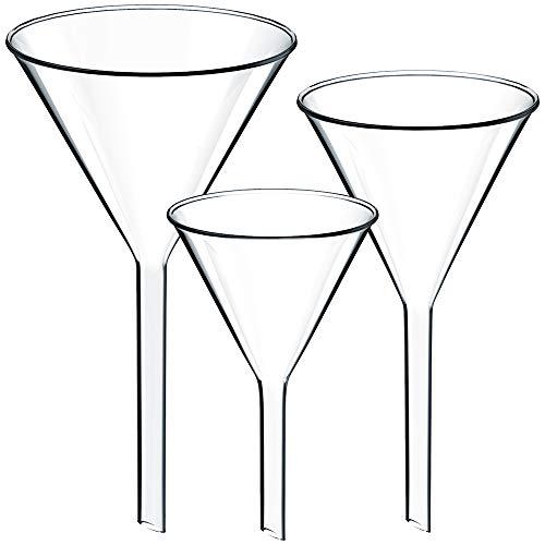 Teenitor Set of 3 Glass Funnels Diameter 40mm 50mm 60mm