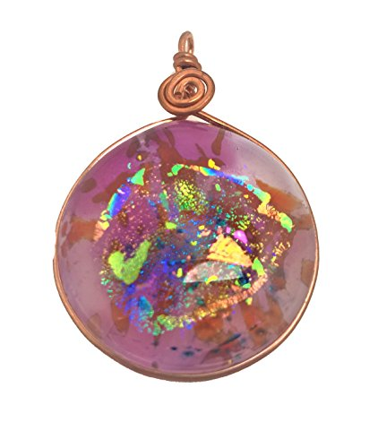 - Pink / Gold / Multi Color Dichroic Oval Glass Pendant with Copper Plated Chain Necklace