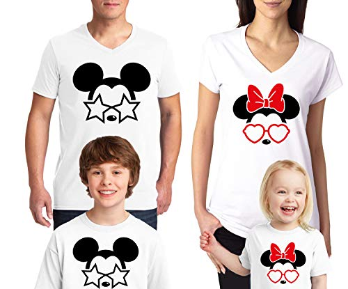 Natural Underwear Land Family Trip and Mouse with Glasses Stars and Heart Men Women Kids Youth Boys Girls V Neck T Shirts White Youth Boys Medium