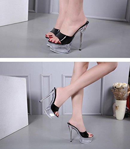 Heel Spring Stiletto Color Heel Platform Light New Women's Shoes Size Summer Shoes PVC 40 Club Translucent Heel C Crystal up 2018 Sandals Shoes Heels Crystal wCI6xAOq