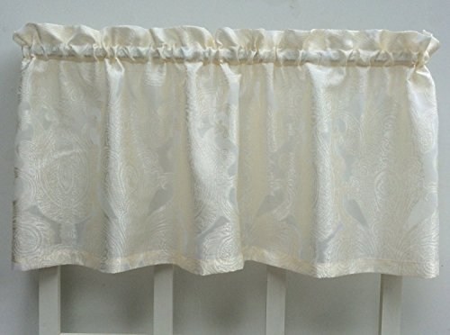 Regal Floral Valance - Ivory Floral Damask Sheer Window Valance Treatment, 2pc Set.