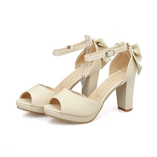 Høye sandaler Peep Hæler Spenne Pu Kvinners Heeled Voguezone009 Buer Solid Med Aprikos Toe xwfqzgnYI