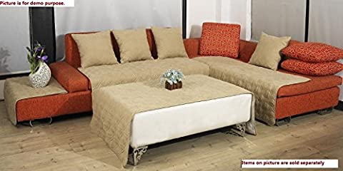 Quilted Bonded or Classic Micro Suede Sectional Chaise Lounge Chair Sofa Slipcovers Pads in Different Color and Size (Beige / Khaki, (Sofa Chaise Cover)