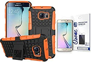Ozone Tough Shockproof Hybrid Case Cover with Screen Protector for Samsung Galaxy S6 Edge Orange