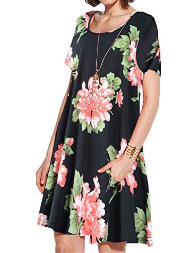 JollieLovin Women's Pockets Casual Swing Loose T-Shirt Dress (5-Black, 3X)