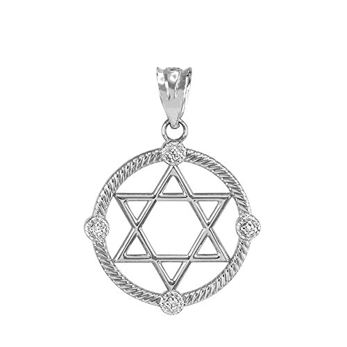 Open Design 10k White Gold Diamond Jewish Star of David Charm -