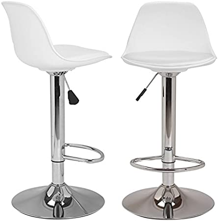 Idmarket Lot De 2 Tabourets De Bar Karl Design Blanc Amazon Fr