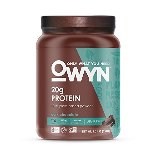OWYN Only What You Need 100% Vegan Plant-Based Protein Powder, Dark Chocolate, Dairy Free, Gluten Free, Soy Free, Allergy Friendly, Vegetarian, 1.17 lb Tub, 1Count