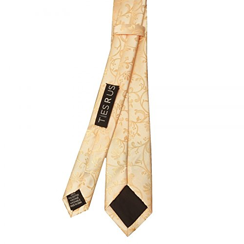 TiesRus Set Men's Skinny Handkerchief and Tie Peach Floral nqx8wqrp4C