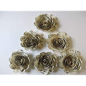 6 Sheet Music Paper Flowers, 3 Inch Rose Blooms, Handmade Floral Decor by Always In Blossom 21