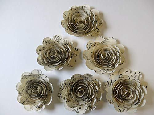 (6 Sheet Music Paper Flowers, 3 Inch Rose Blooms, Handmade Floral Decor by Always In Blossom)