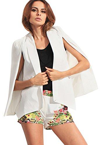 Verdusa Women's Lapel Split Long Sleeve Blazer Solid Cape Jacket Coat White L