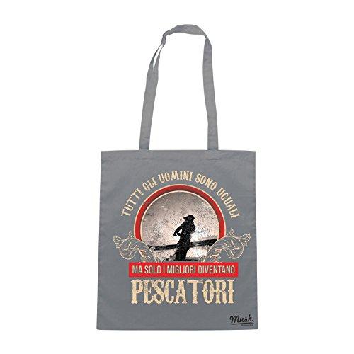 Borsa SOLO I MIGLIORI DIVENTANO PESCATORI - Grigio - MUSH by Mush Dress Your Style