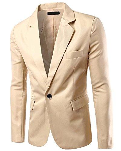 Men's Long Sleeves Peak Lapel Collar One Button Sport Coat Blazer