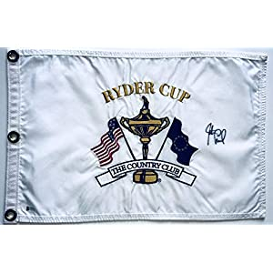 Justin leonard signed 1999 Ryder cup golf flag the country club pga beckett coa