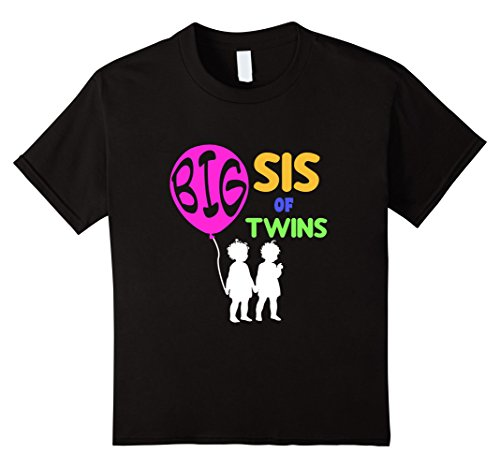 [Kids BIG SIS OF TWINS T-SHIRT Funny Family Sister Gift Idea 10 Black] (Funny Current Halloween Costumes Ideas)