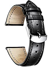 Genuine Calfskin Leather Watch Bands Replacement Alligator Strap for Men Women with Silver/Rose Gold Butterfly Deployment Buckle 12mm 13mm 14mm 16mm 17mm 18mm 19mm 20mm 21mm 22mm 23mm 24mm 10 Colors