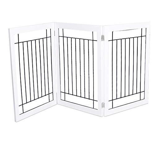 Price comparison product image Internet's Best Traditional Wire Dog Gate / 3 Panel / 30 Inch Tall Pet Puppy Safety Fence / Fully Assembled / Durable MDF / Folding Z Shape Indoor Doorway Hall Stairs Free Standing / White