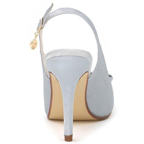 LOSLANDIFEN Womens Peep Toe Ankle Strap Pumps Buckle Stiletto High Heels Wedding Shoes Silver Satin 8rXAi