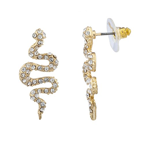 Lux Accessories Gold Tone Pave Snake Post Earrings (Earrings Snake Pave)