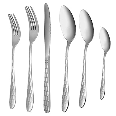 Silverware Flatware Cutlery Set, VERONES 24-Piece Stainless Steel Utensils Service for 4, Fit For Home Kitchen Hotel Restaurant Tableware Cutlery Set, Mirror Finished, Dishwasher Safe. - 🌿Include:24-piece flatware set, service for 4; includes 4 salad forks, 4 dinner forks, 4 teaspoons, 4 dinner spoons, 4 serving spoons,and 4 dinner knives. 🌿Design:Simple appearance with no redundant annoying decoration,non-slip handle and Classic design to fit any style kitchen tableware 🌿Silverware Sets:Deformation Resistant These cutlery sets are bent-resistant,safe to placed in dishwasher,heat-resistant. - kitchen-tabletop, kitchen-dining-room, flatware - 413kg4RalZL. SS400  -