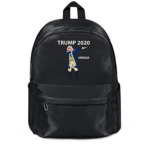 Womens Girl Boys Bag Casual Nylon Lightweight School Backpack Presidents'-Day-Washington-Trump-2020- College Bookbag Black