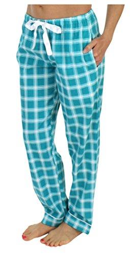 PajamaMania Women's Sleepwear Flannel Pajama PJ Pants- Emerald Plaid (PMF1001-2060-LRG) -