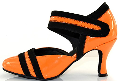 Salabobo Womens Latin Professional 2-3.15IN Closed-Toe Dance Shoes Tango Cha-cha 1043 Orange 17QFd5