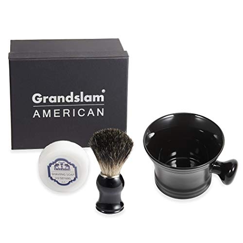 Shaving Bowl and Pure Badger Brush - Mug for Shaving Soap and Cream Ceramic Black Shaving Soap Bowl/Mug with Knob Handle