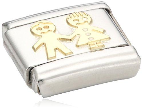 Nomination - 030110 - Maillon pour bracelet composable Mixte - Acier inoxydable et Or jaune 18 cts