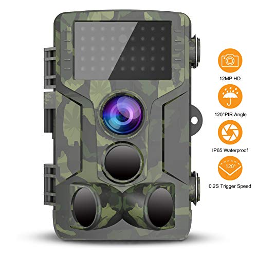 Trail Game Camera, 1080P HD Scouting Cam, 120° Wide Angle PIR Sensor Motion Activated Night Vision,...