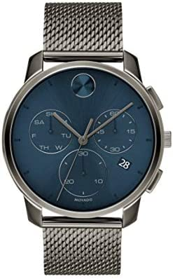 Movado Men's Swiss Quartz Watch with Stainless Steel Strap, Grey Ion-Plated, 21 (Model: 3600721)