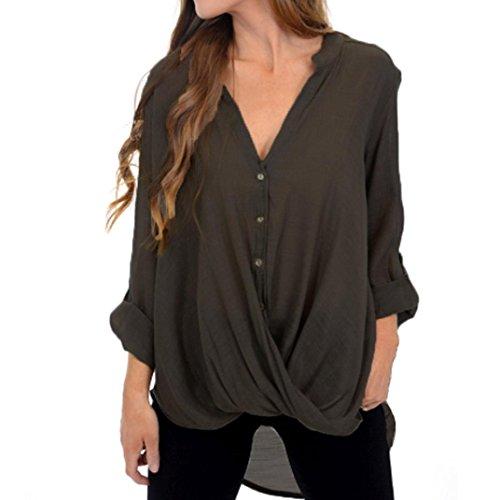 Forthery Women Blouse 3/4 Sleeve Tunic Tops Button Hem Irregular Shirts Clearance Sale(Khaki, Large)