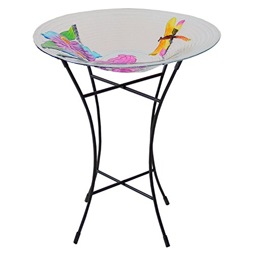 CC Outdoor Living Hand Painted Glass Dragonfly and Flower Spring Outdoor Garden Bird Bath 21