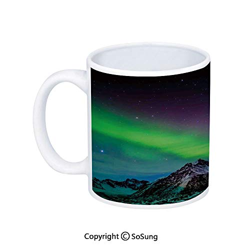 Northern Lights Coffee Mug,Southern Iceland on Sky over Rocky Hills Wild Night View,Printed Ceramic Coffee Cup Water Tea Drinks Cup,Lime Green Dark Blue Violet