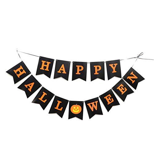 BESTOMZ Banner Paper HAPPY HALLOWEEN Pumpkin Creative Party Supply Decorations Garland Bunting for Decor Halloween Ornaments