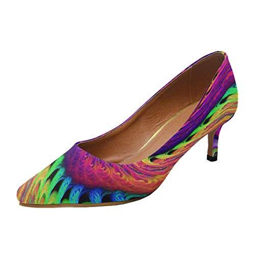(INTERESTPRINT Women's Classic Low Kitten Heel Pumps Multicolored Psychedelic Spiral US6.5 )