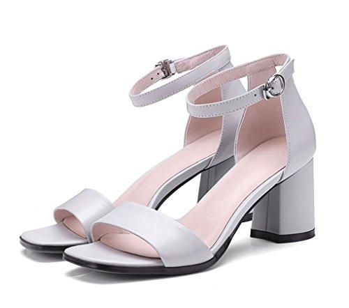 y Mujer Punta Tacón Gris Alto Zapatos Coreana Abierta con de de Sandalias Versión Punta Redonda Bqw1zEx