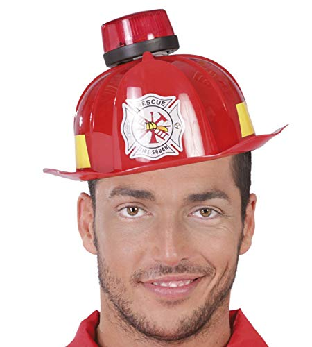 Mens Red Fireman Hat Helmet with Siren Sound And Light Emergency Services Firefighter Fun Novelty Stag Do Night Fancy Dress Costume Outfit Accessory ()