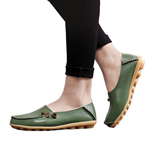 Blivener Kvinna Platta Skor Tillfälliga Loafers Går Komfort Sommar Tofflor Armygreen