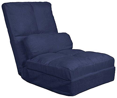 Cosmo Click Clack Convertible Futon Pillow-Top Flip Chair Child-size Sleeper Bed, Microfiber Suede Dark Blue ()