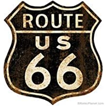 Route 66 Shield Distressed Wall Decal 12 in. Garage Decor