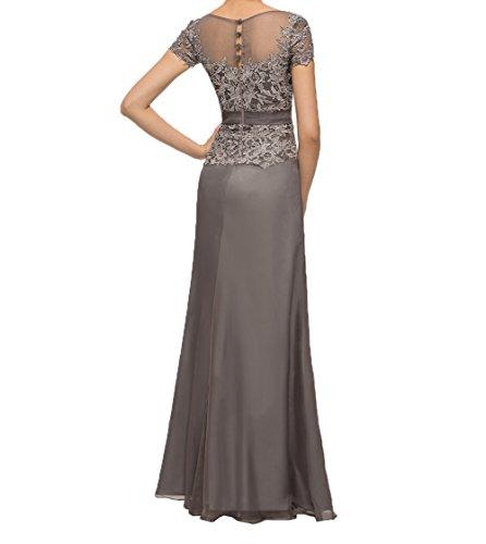 Kurzarm Partykleider Charmant Lila Abendkleider mit Brautmutterkleider Lang Spitze Promkleider Elegant A linie Damen aX4XE