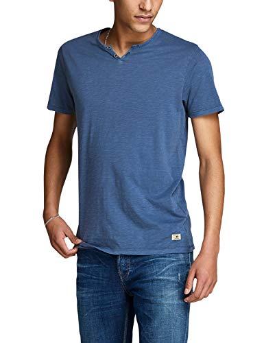 Jack & Jones Men's Split Neck Premium Slim T-Shirt Blue in Size Large from Jack & Jones