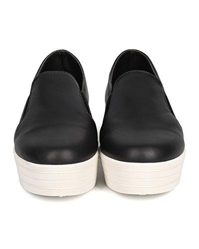 Breckelles Di31 Dames Kunstleer Ronde Neus Platte Vorm Elastische Slip-overs Sneaker - Zwart